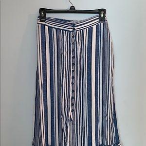 Blue striped maxi skirt